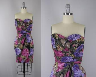 1980s Vintage Dress / 80s Sarong Wrap Party Dress
