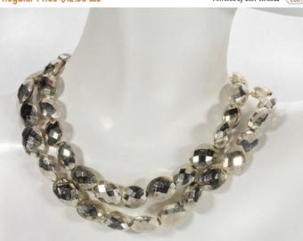 ON SALE Silver Pyrite Oval Beads Faceted Mystic Coated Pyrite Silver Colored Coating - Earth Mined Pyrite - 4 Inches - 10x8mm - 10 Beads