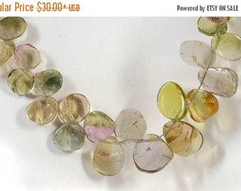 ON SALE Watermelon Tourmaline Slices Multicolor Tourmaline Pink Green Pastels Bicolors Earth Mined - 4 or 8 Inch Strand - 5x3 to 10x7mm