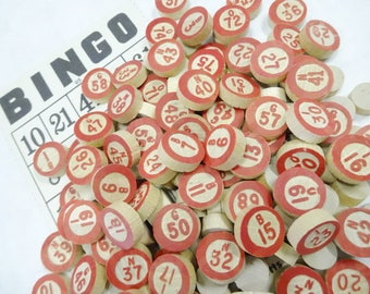 Vintage Batch Wood BINGO Complete Game Pieces Call Numbers Numerals Markers Destash Embellishments Findings