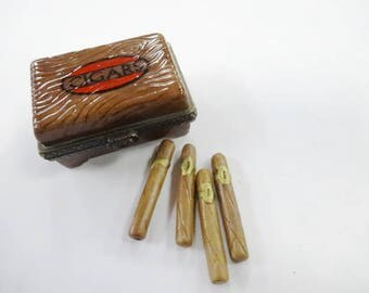 Cigars Porcelain Miniature Humidor Trinket Box By Midwest of Cannon Falls Hinged Little Collectible
