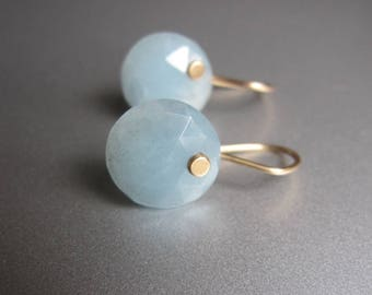 Rose Cut Aquamarine Button Drops Solid 14 Gold Earrings