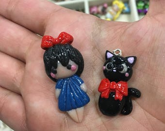 Kawaii Kilimand Jiji Inspired Witch Girl and Black Cat Charm