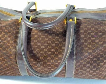 Brown Leather Duffle Travel Bag Handbag Signed Gucci Made in Italy
