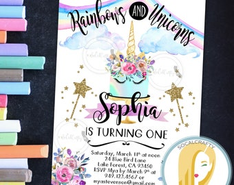 Unicorn Birthday Party Invitation, Unicorn Invitation, Unicorn Cake, Rainbow Gold Glitter, Watercolor, DIY, Printed or Printable Invitations