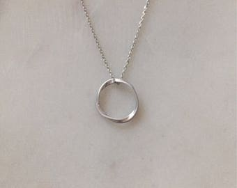 Silver Infinity Necklace - Minimalist Circle Necklace - Modern Circle Necklace