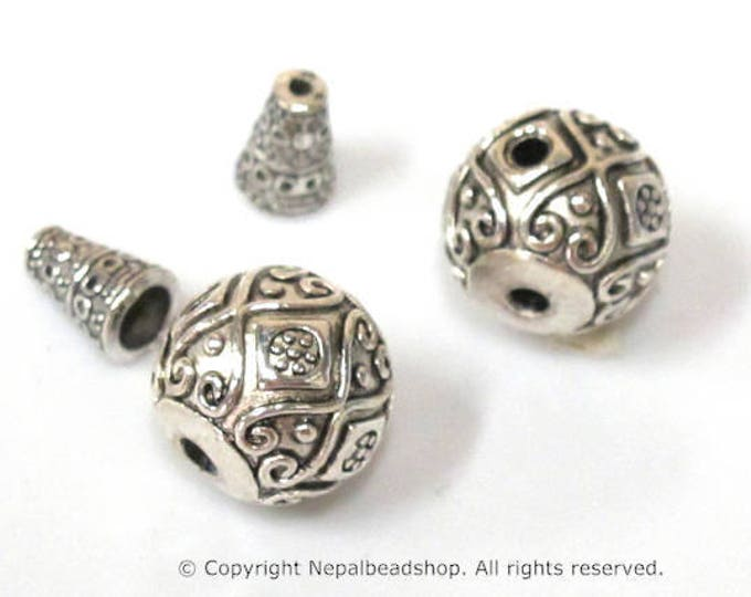 2 Guru beads  - Large size 14 mm x 15 mm Tibetan silver 3 hole Guru Bead with column bead  dotted floral heart design - GB059s