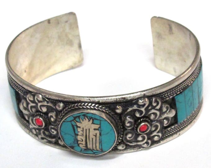Beautiful Tibetan Kalachakra mantra dorje design turquoise inlaid adjustable cuff bracelet Handmade in Nepal - JM009C