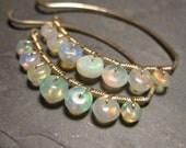 Ethiopian Opal Earrings - Gold Wire Threads - Lightweight Minimal Earrings