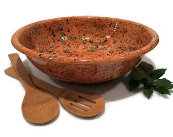 Large Serving Bowl in Caramel Brown and Moss Green