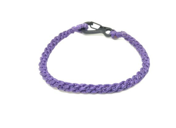 Purple Waxed Cotton Wristband Handmade in Thailand