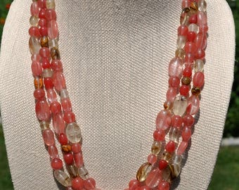 Cherry Quartz Watermelon Tourmaline Statement Necklace
