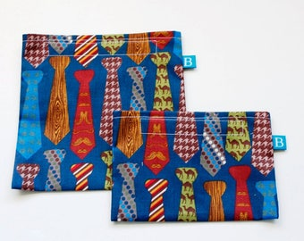 Reuseable Eco-Friendly Set of Snack and Sandwich Bags in Ties Fabric Perfect for Dad