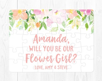 Flower Girl Puzzle Proposal Pink Will You Be Our Flower Girl Puzzle Will You Be My Flower Girl Gift Flower Girl Proposal Cute Pink Green