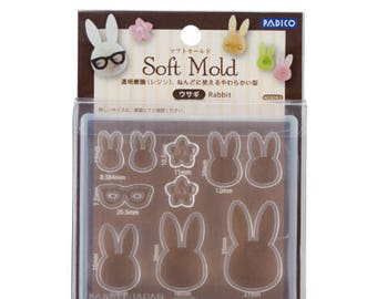 Padico Soft Clay and UV Resin Mold Soft Mold  Rabbit (PP) from Japan - Accessories/ Charm/ Fake sweets /  bag accessories 403053