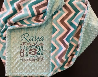 Custom Blanket - Personalized baby blanket - Minky dimple dot salt water/chevron topaz/charcoal/snow