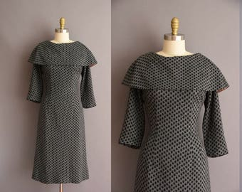 vintage 1950s gray wool polka dot winter wiggle dress Large Xl 50s cocktail party dress