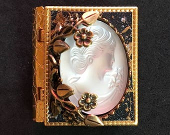 Frosted Glass Cameo - Miniature book pin