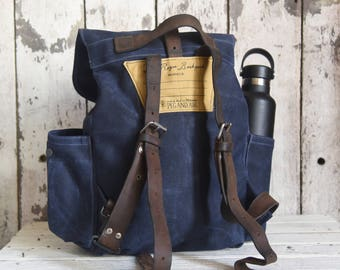Waxed Canvas Backpack Little Rogue in Rook, Rucksack, Waxed Canvas Bag, Bicycle Bag, Bike Bag, Waxed Canvas Travel Bag, Gift for Men, Mini