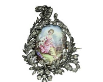 ON SALE Victorian enamel miniature brooch woman sitting in grass with dog 1850s