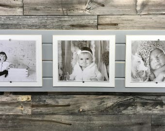 Distressed wood picture frame triple 8x10 light grey and white