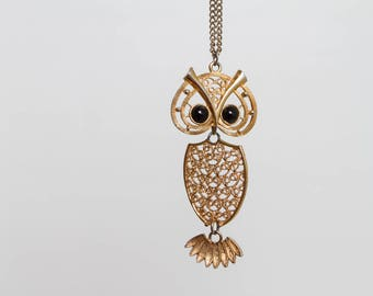 vintage 70s owl pendant necklace Coventry