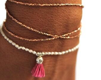 SALE Rose Gold Triple wrap beaded bracelet