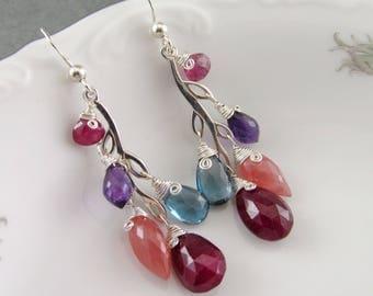 Gemstone vine earrings, handmade sterling silver ruby, London blue topaz, rhodochrosite, amethyst and pink tourmaline earrngs-OOAK