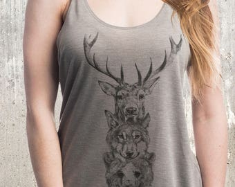 Women's Animal Totem Slouchy Tank // made in the USA by Black Lantern