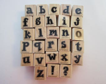 vintage rubber stamp ALPHABET - Stampin Up ATTITUDE lower case
