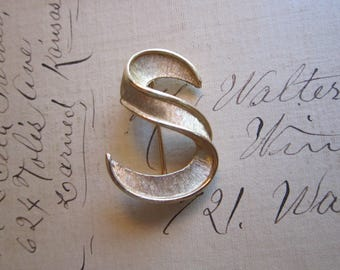 vintage Trifari initial brooch - letter S - initial S brooch, signed Trifari