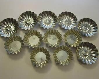 12 vintage tin molds - candy molds, tartlet molds, tartlet molds - made in Sweden