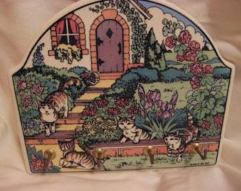 Vintage Hand painted Tile key rack-Garden cats