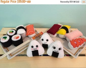 FLASH SALE Deluxe Hand Sewn Felt Sushi Playset