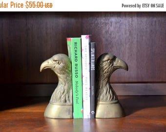 SALE 25% OFF vintage brass bald eagle bookends / vintage americana / brass bird