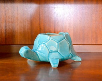 vintage midcentury ceramic turtle planter / indoor garden / midcentury pottery