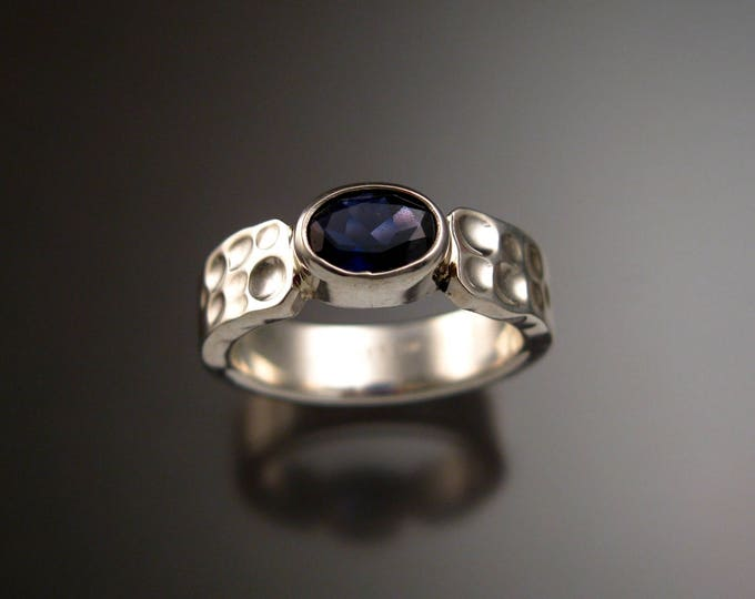 Iolite Deep blue Sapphire substitute sturdy bezel set stone ring Sterling Silver Handmade in your size Moonscape ring