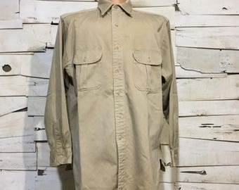 Vintage TUF NUT Mercerized Sanforized Military Spec Khaki Shirt 60's (os-bds-10)