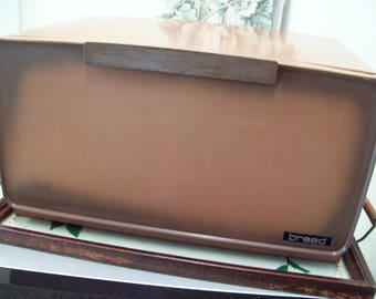 Brown Metal Tin Bread Box Amerock Pie Shelf Cutting Board, Vintage Bread Box