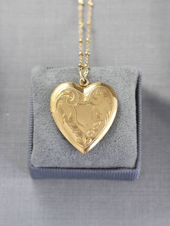 Gold Heart Locket Necklace, 12k Gold Filled Vintage Blank Cartouche Engraved Pendant - Love in Bloom