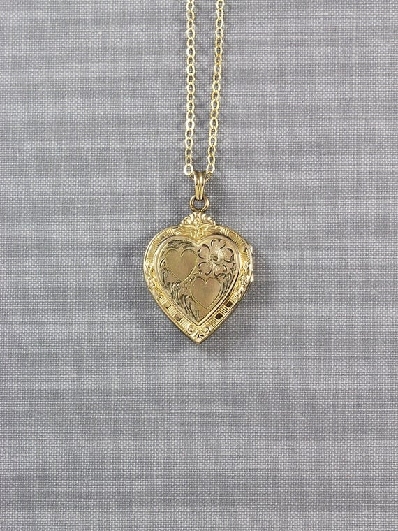 12K Gold Filled Heart Locket Necklace, Small Hayward Vintage Pendant - Heart of Hearts