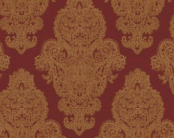 ME0121 Red Gold Rittenhouse Damask Wallpaper