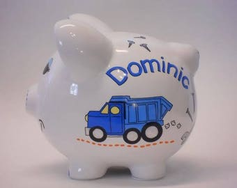 Personalized Piggy Bank Dump Truck and Construction Tools