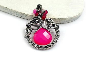 Hot pink pendant, wire wrapped jewelry, chalcedony pendant, sterling silver jewelry