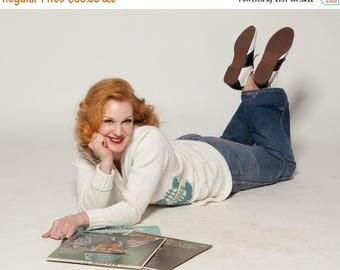 HALF PRICE SALE Vintage 1960s Letterman Sweater - White Teal - Chorale Boyfriend Cardigan