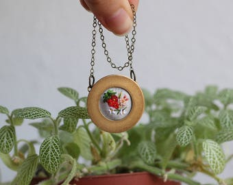 Strawberry- hand embroidered necklace, summer, flowers, floral, colorful, floral, red, fruit