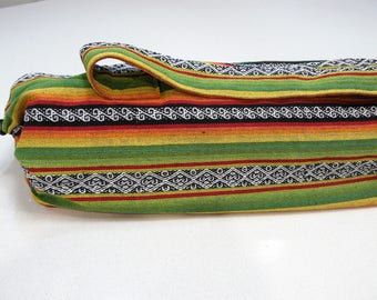 NEW XL Yoga Bag - Exercise mat bag - green yellow orange red black and white striped with Large pocket