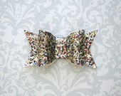 4th of July Bow, 4th of July Hair Bow, Glitter Hair Bow, Glitter Bows, Silver Glitter Bow, Glitter Hair Clip, Toddler Bows, Girls Bows