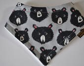 Bandana Terry Cloth Snap Bib in Grey Bear Small Size 0-6 months