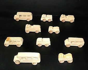 10 Handcrafted Wood Toy Fire Trucks, School Buses  OT- 21 unfinished or finished